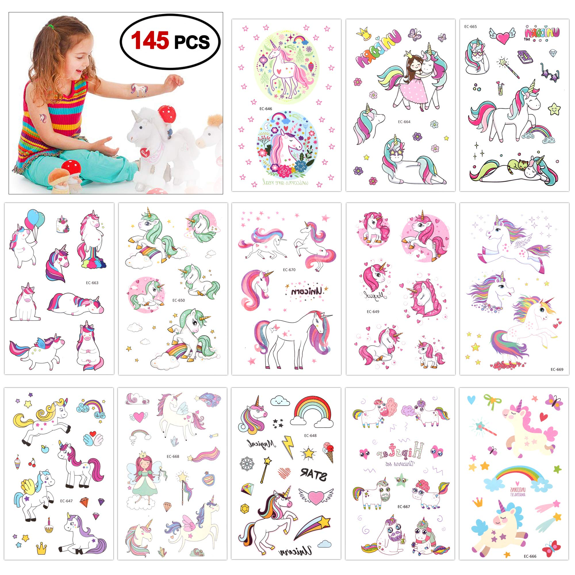 Temporary Tattoos for Kids ,Konsait Glitter Unicorn Tattoos for Children Girls Birthday Party Favors Supplies Great Kids Party Accessories Goodie Bag Stuffers Party Fillers Halloween Costume 98pcs