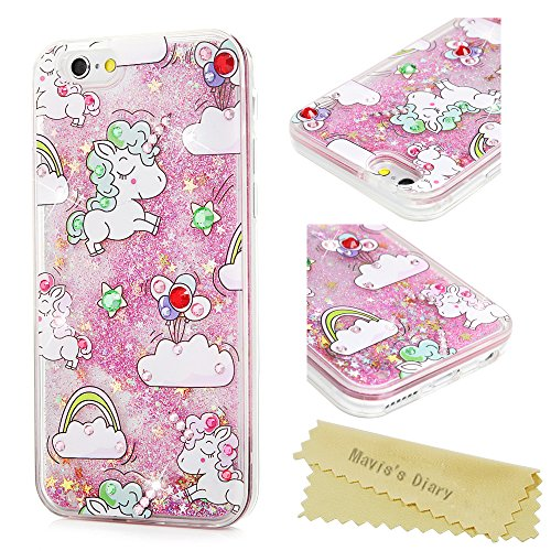 newest e187b f3d2b iPhone 6 case, iPhone 6S Case (4.7), Mavis's Diary Bling Glitter Sparkle  Flowing Liquid Quicksand Moving Sequins Protective Hard PC Back Cover with  ...