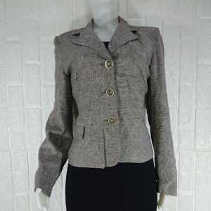 Vogue Brown Linen Tailored Office Jacket - okriks-market