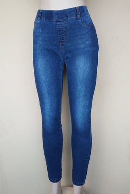 DENIM RIPPED THIGH PENCIL JEGGINGS