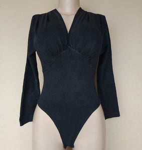 Others Black Longsleeve Bodysuit - okriks-market