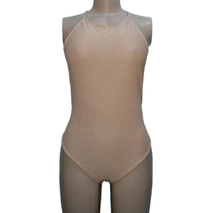 Topshop Brown Textured Cutout Bodysuit - okriks-market