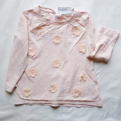 Peach Long Sleeve Top With Flower Design - okriks-market