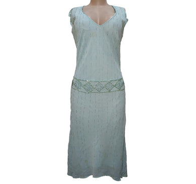Green Beaded Sleeveless Dress - okriks-market