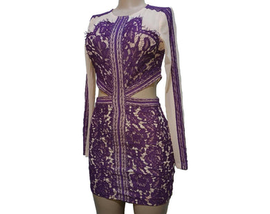 Purple Lace And Mesh Cutout Dress - okriks-market