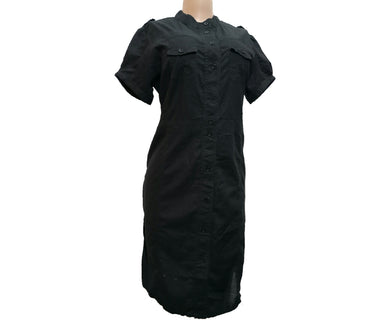 Black Shirt Dress Witth Front Buttons - okriks-market
