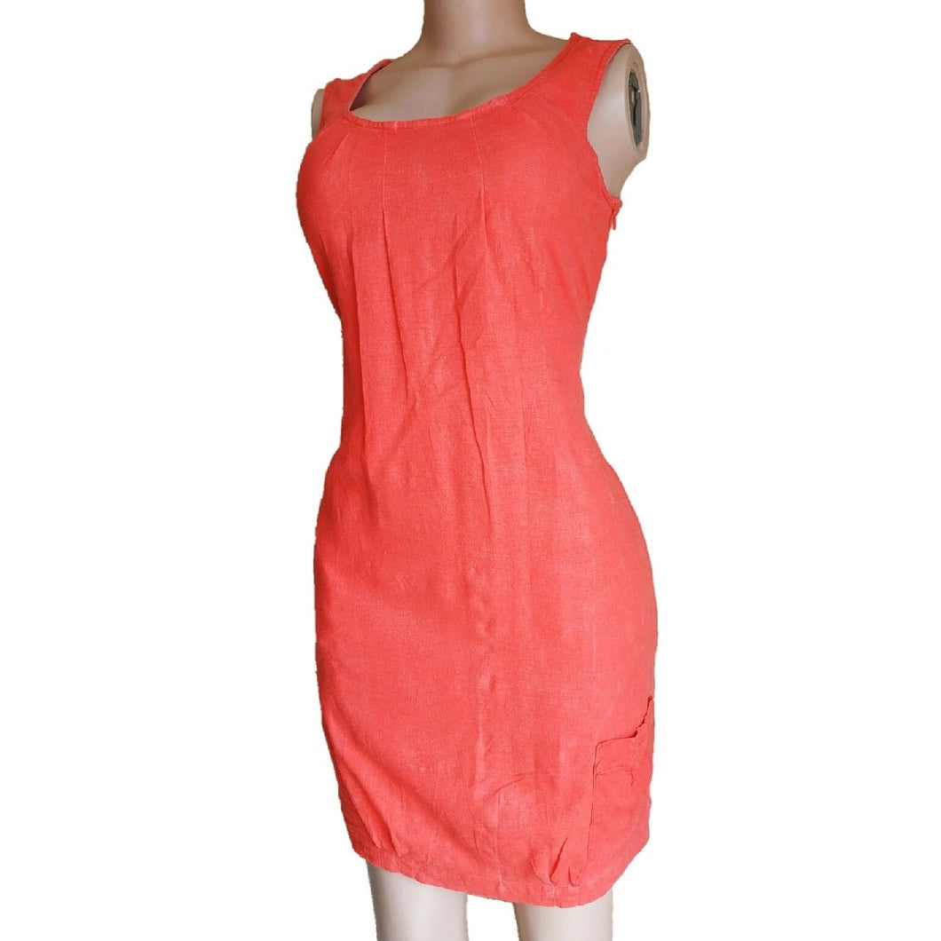 Orange Linen Dress With Pockets - okriks-market