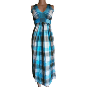 Plaid Sleeveless Dress With Side Zip - okriks-market
