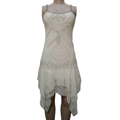 Cream Beaded Party Dress - okriks-market