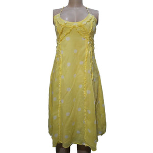 Yellow Polka Cross Back Dress - okriks-market