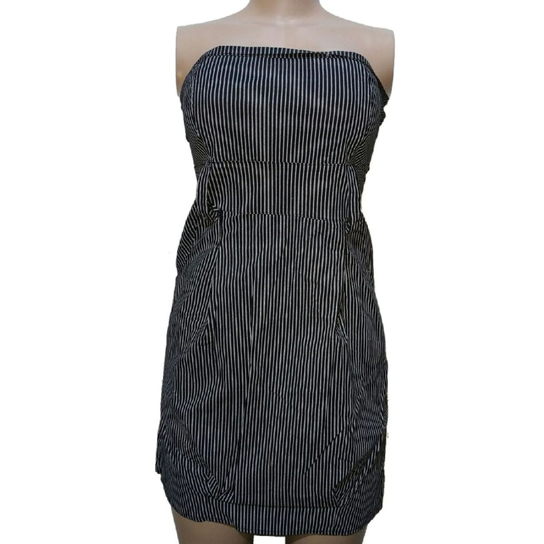 Grey And Black Striped Tube Dress - okriks-market