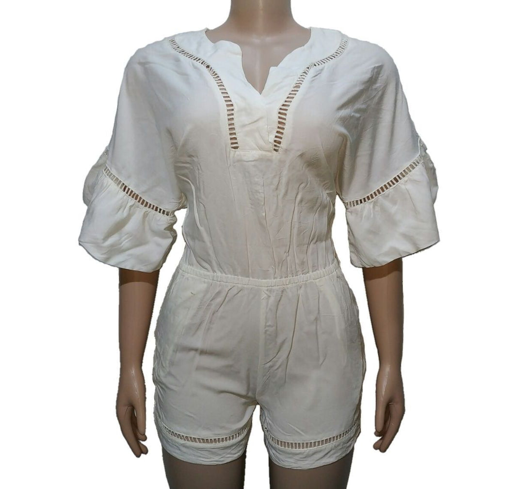 Cotton White Romper With Cutout Detail - okriks-market