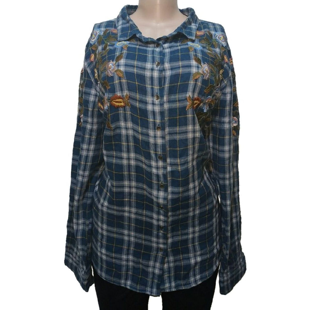 Tu Check And Floral Plus Size Shirt - okriks-market