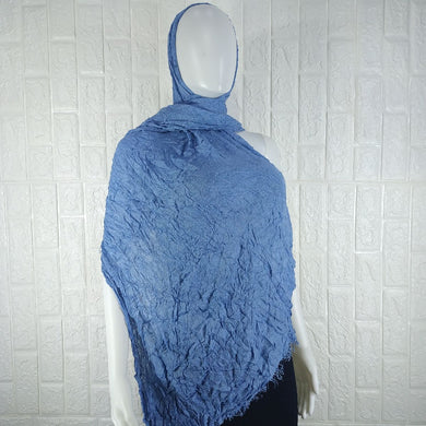 Blue  Cotton Pashmina Shawl - okriks-market