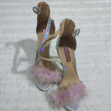 Silver And Pink Furry Stillettos - okriks-market