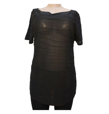 Black Textured Short Sleeve Top - okriks-market