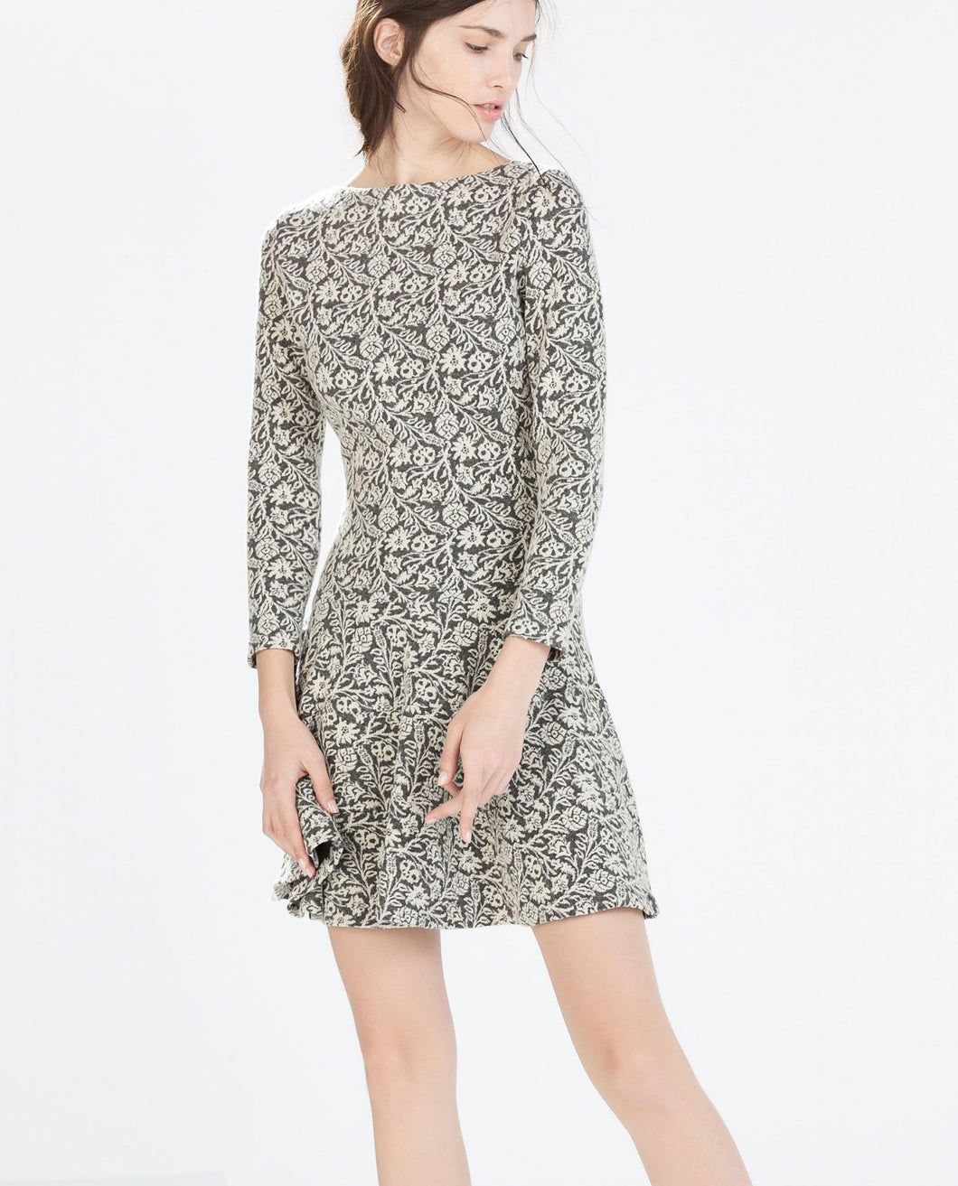 Wool Jacquard Skater Dress by Zara - okriks-market