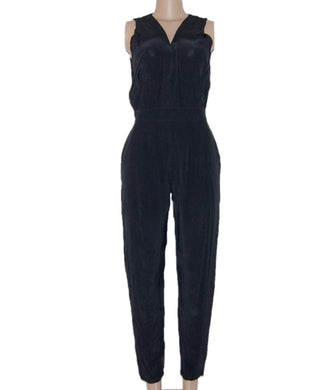 Black Jumpsuit With a Waist Band And V-Neck - okriks-market