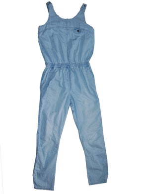 Blue Jean Material Jumpsuit With Two Back Pockets - okriks-market