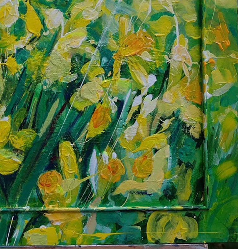 Field of Daffodils original personally signed mixed media oil on canvas yellow  2019