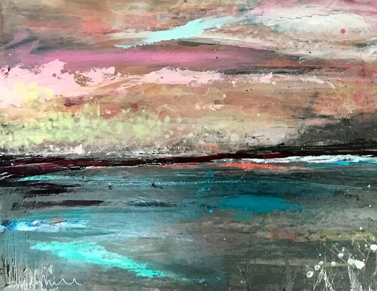 Pink Sky Dreaming Original, mixed media, personally signed acrylic paint Signed  2019