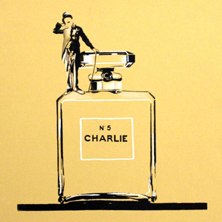Gold Charlie Bottle  2016 - signed by artist - hand Finished Silk Screen, Limited Edition of 10