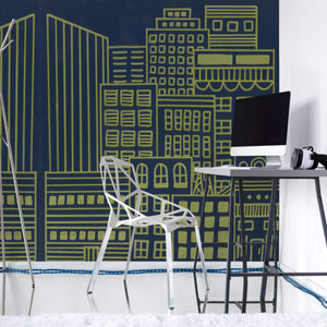 Wallpaper: Doodle City, Navy Blue and Gold