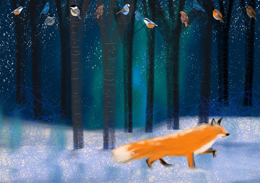 Night Fox christmas digital print, vibrant, original, John Lewis and Childrens' illustrator