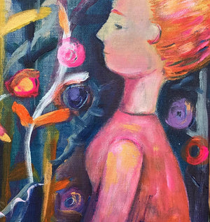 Golden Bird Original acrylic paint on raw silk canvas pink ethereal vibrant