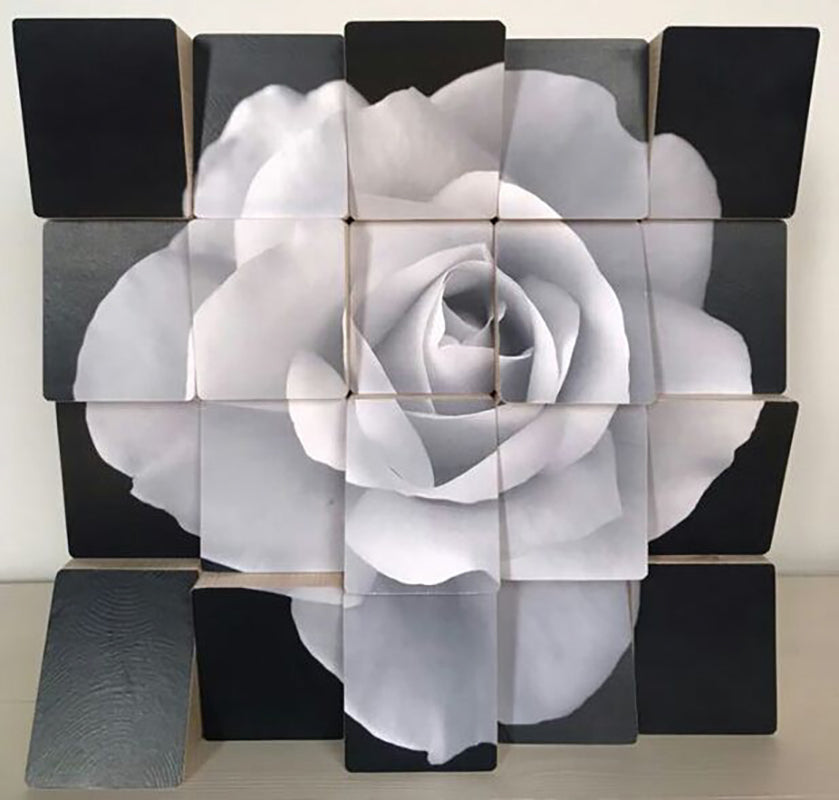 Rose art Acrylic Paint on Canvas applied onto Wooden Blocks Personally Signed.