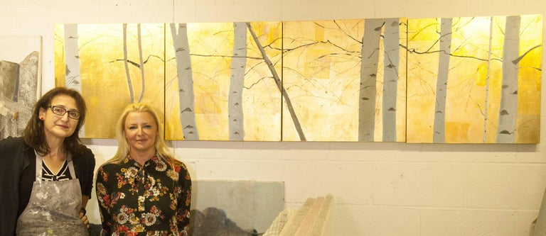 Golden Birches Frieze, original, contemporary, signed by the artist, gold, Christmas scene