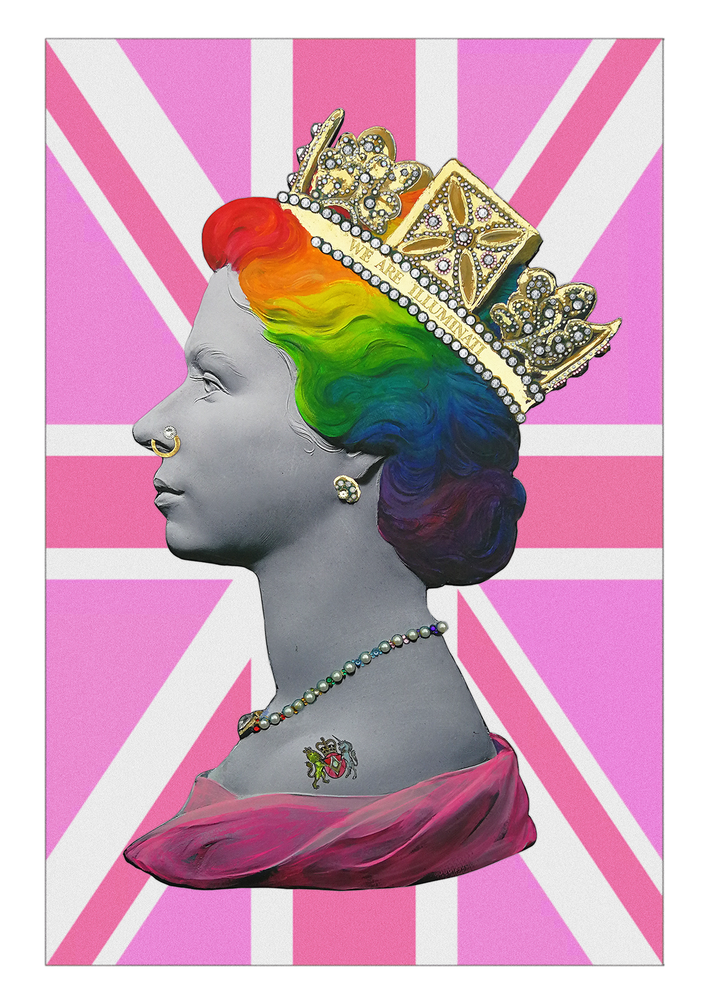The Queen Rainbow A3 prints Signed Hand finished In silver leaf with jewels framed