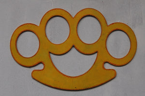 Knuckle Duster computer cut, vibrant yellow, contemporary, original