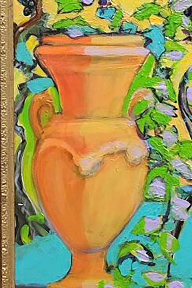 Italian Urn with Grapevine Original Mixed media Capri vibrant signed colours 2019