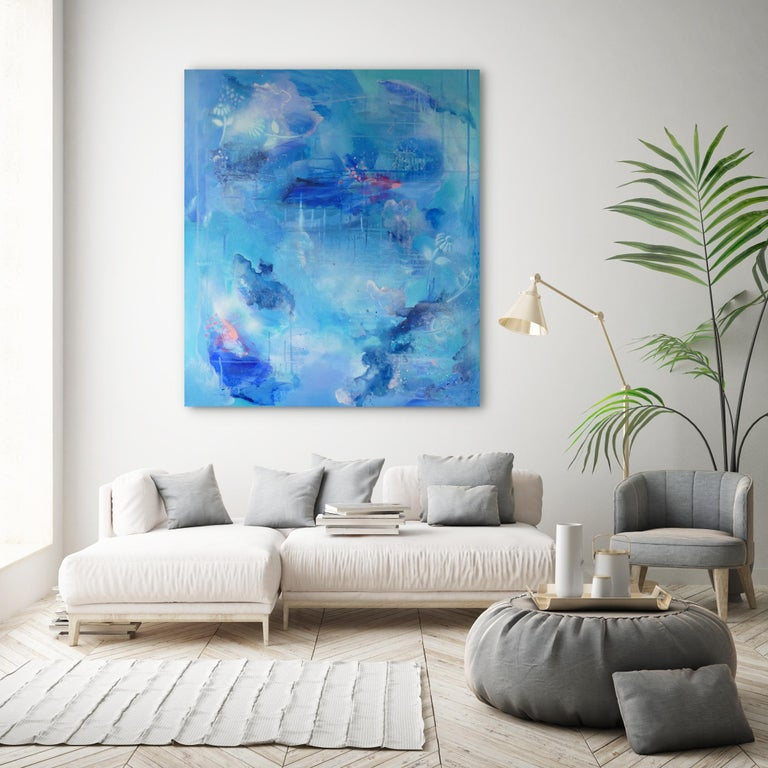 Phthalo Blush Original, Blue, Canvas, Acrylic paint, abstract , varnish, signed 2019