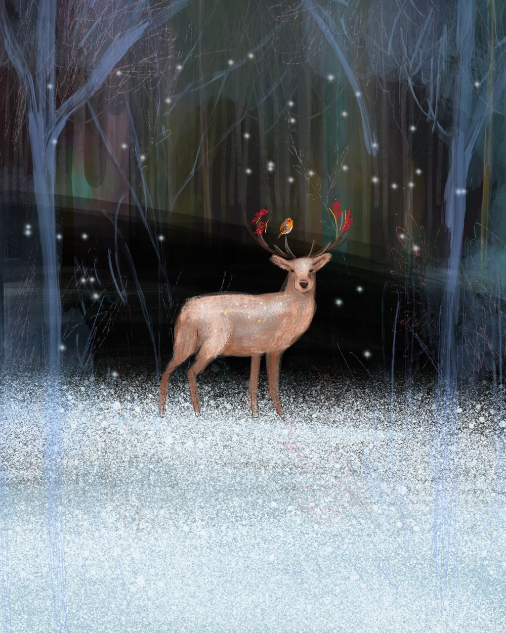 Christmas Deer - Christmas scene red robin diamond dust - signed print