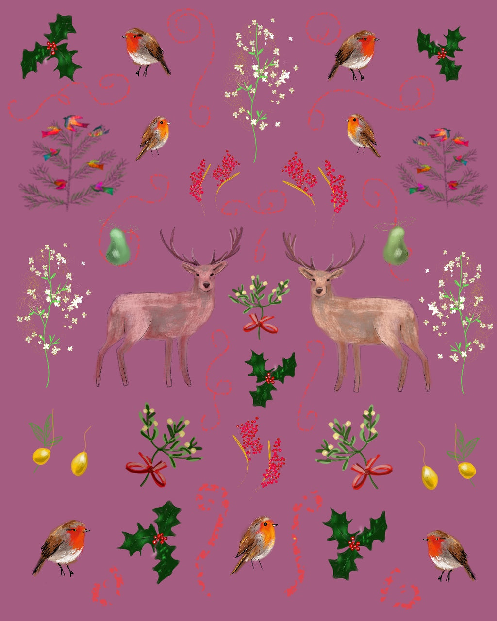 Deer Pattern - mistletoe holly red robin berries xmas colours pear print
