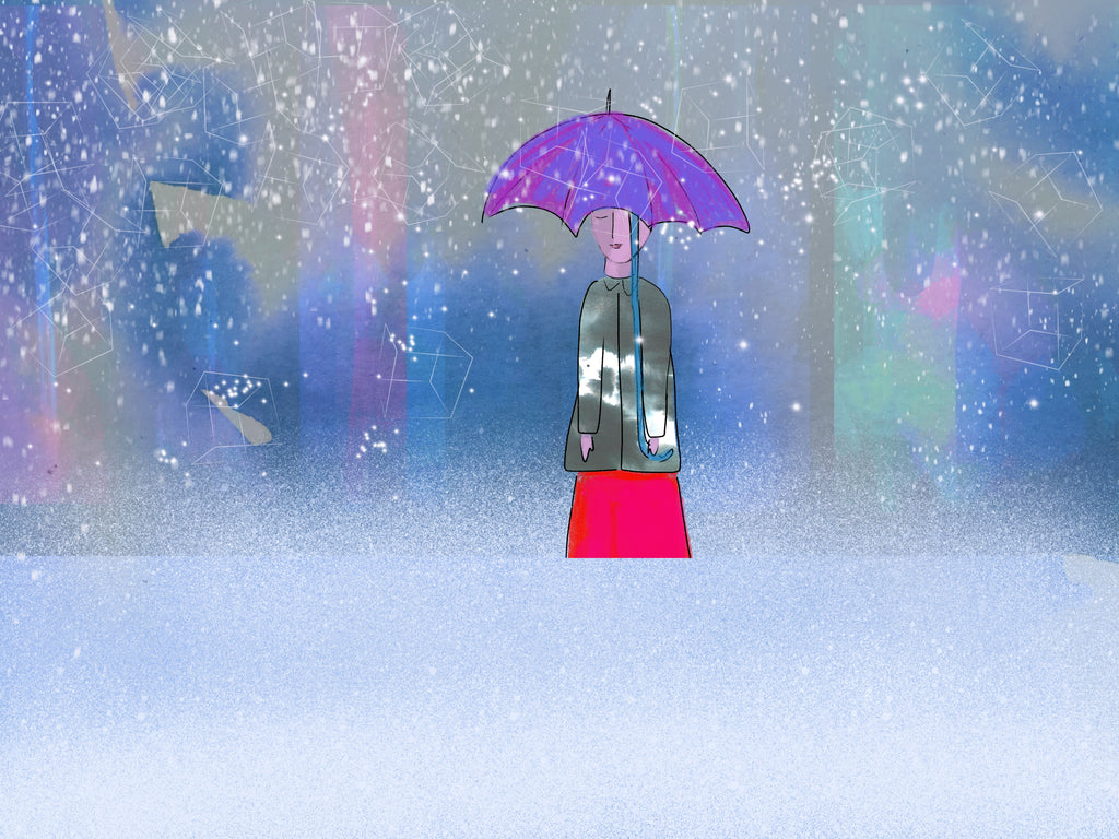Snowy Day Limited edition print of 200 blue purple girl umbrella in snow signed  2019