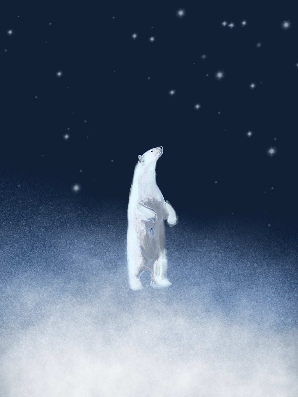 White Bear - limited edition print xmas ideas stars dark blue sky signed  2019