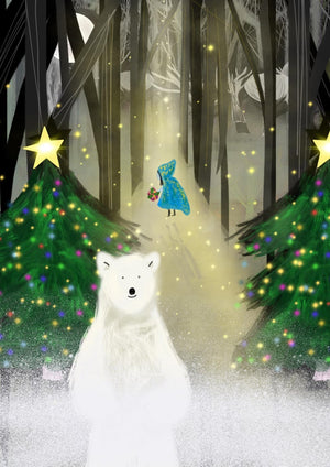 Bear in the Woods -  Limited edition print of 200 xmas scene bear trees baubles