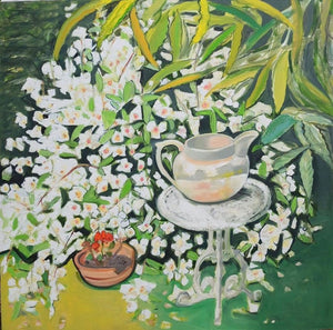 White Jug on table with scented Philadelphus Original mixed media signed art  2019