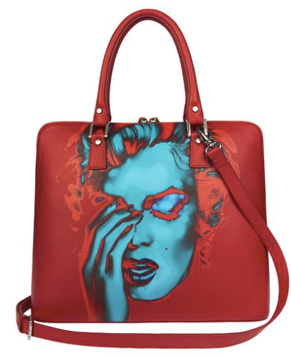 Rose red Florentine leather tote bag with stirrup-shaped handles.