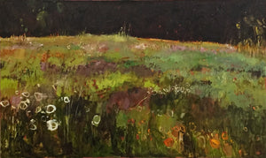 Tuscany Meadow with Orange and White Flowers, original, signed by the artist, great reviews