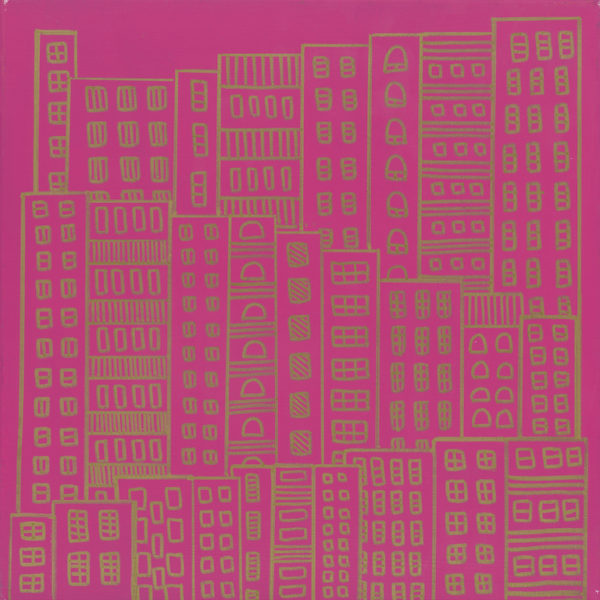 Wallpaper: Doodle City, Pink and Gold