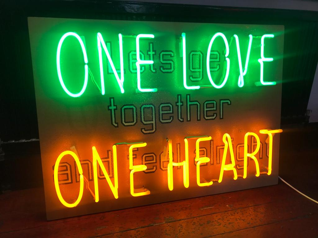 One Love One Heart neon light interior hand blown signed by Neon God sloper 2019