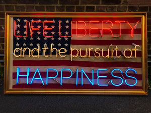 Life Liberty and the Pursuit of Happiness flag neon handblown original art work protege of chris bracey neon god 70's soho