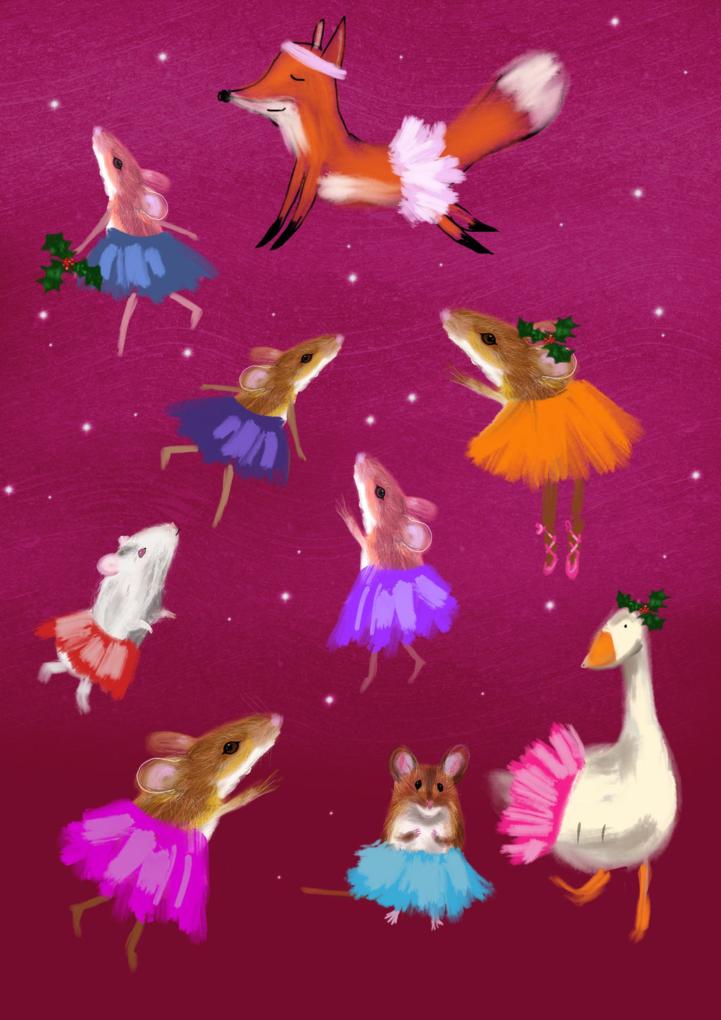 Christmas Animals, christmas digital print, vibrant, original, John Lewis and  Childrens' illustrator