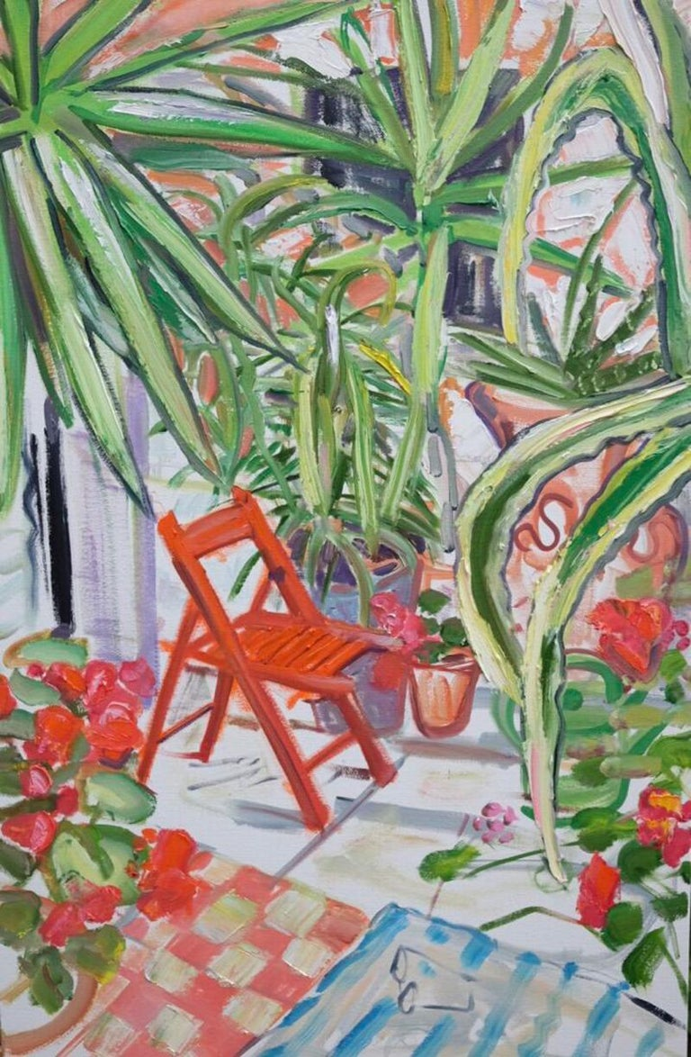 Red Chair Among Spiky Plants Original Mixed media red green british garden scene 2019