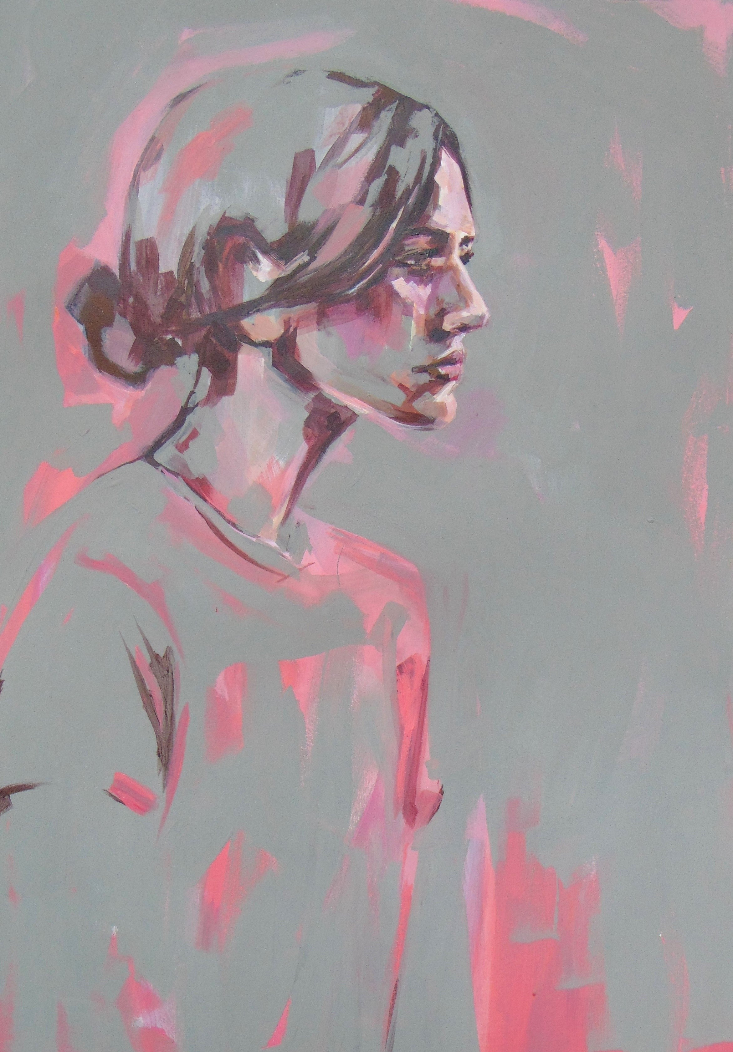 Pink and Grey original signed great reviews vibrant portrait emerging art 2019