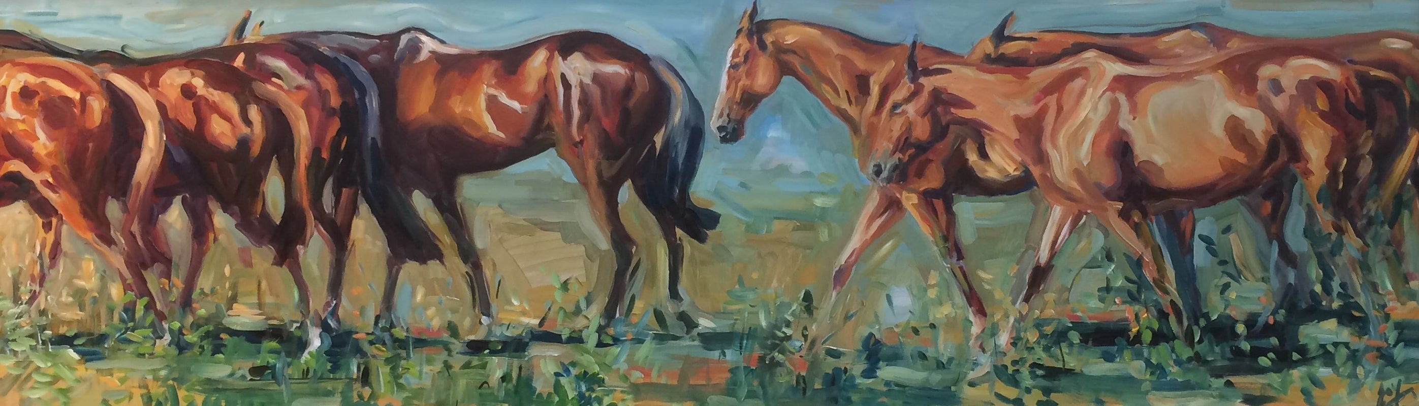 Summer Days Original, Oil on Board, Signed bottom right, polo ponies, summer,  2019